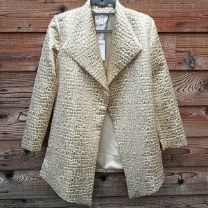 Chico's gold lame coat size 0 quilted pattern